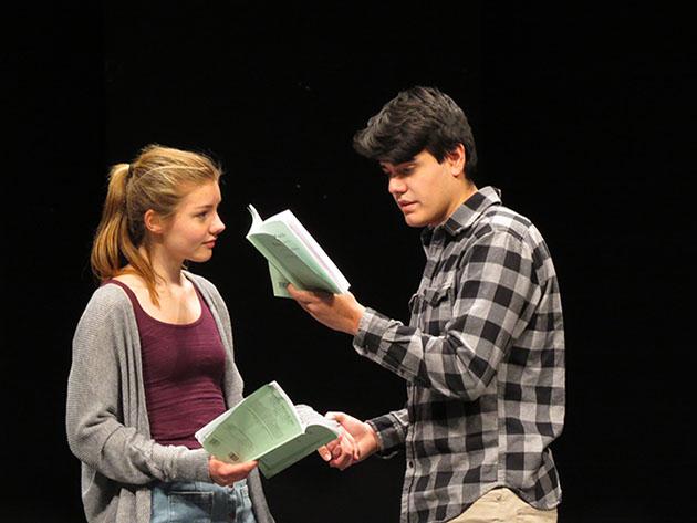 Kristen+Gollwitzer%2C+freshman%2C+and+Sadoth+Gonzalez%2C+senior%2C+rehearse+their+lines+in+preparation+for+the+spring+play.