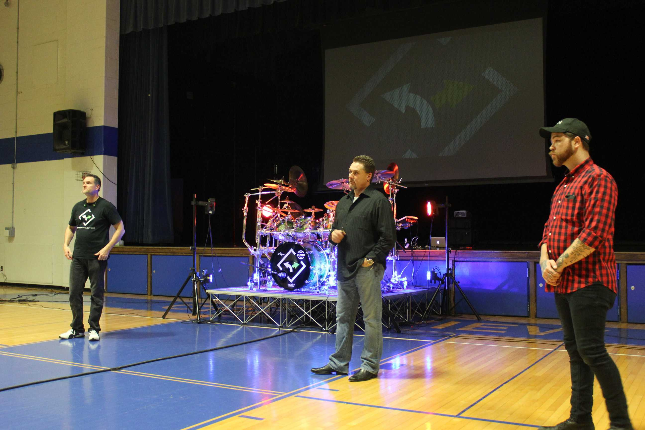 Jeff Mozingo (far left) and Joe Richardson (middle), answer questions from a concerned crowd, regarding their presentation on the dangers of heroin, held at the Crestview Middle School on the 11th of January.