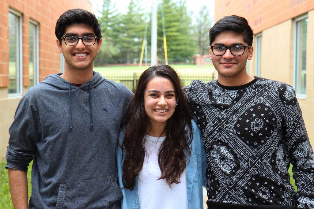 From left to right: Areeb Shah, Rabeeka Rajput, and Zeshan Ali, juniors, competed at the annual MIST competition. They placed first out of 11 films, each film representing a different region of the mid-west.