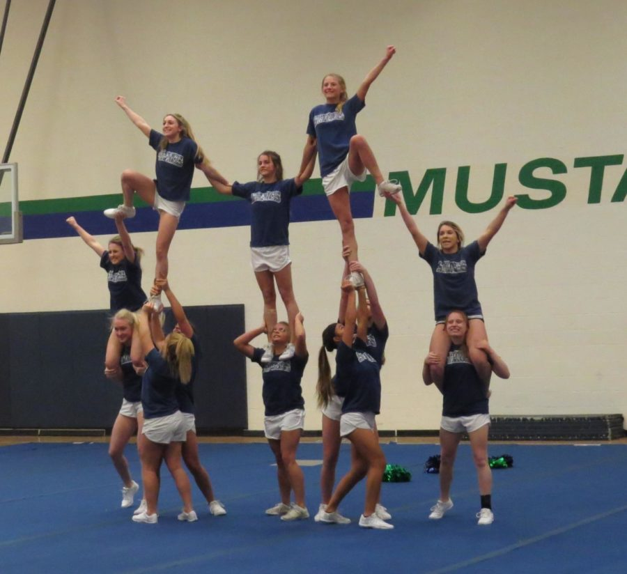 Varsity+cheerleaders+practice+their+routine+after+school+on+Feb.++6.++They+leave+for+Nationals+on+Feb.+8.