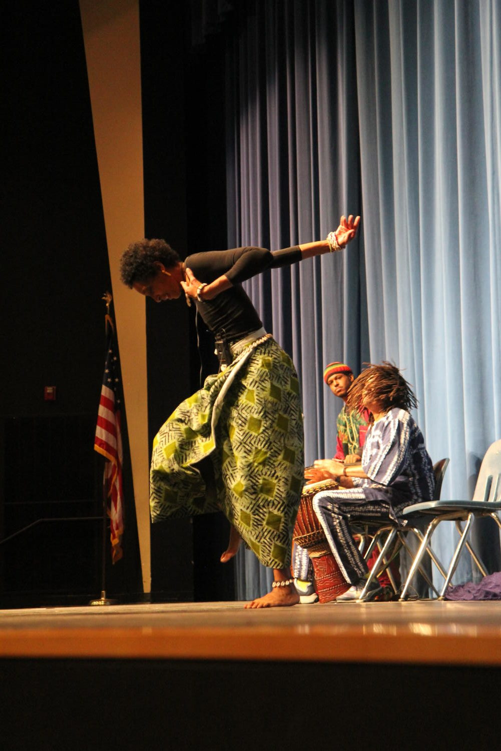 DeBorah Ahmed, performer, dances an African dance known as Fanga. During Black History month, MHS hosted two presentations.
