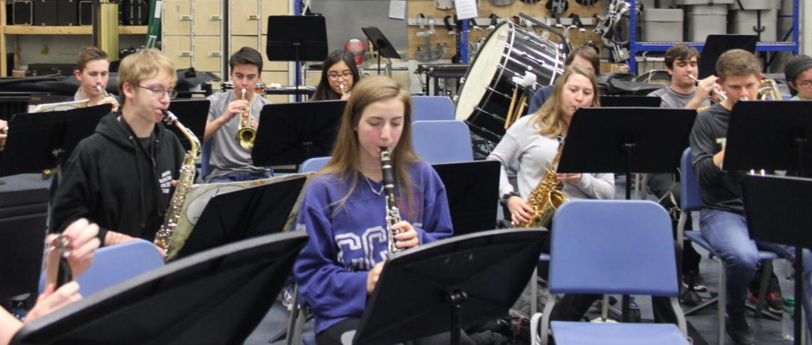 "Pep band students practice the song ""The Hey Song"" by Gary Glitter and Mike Leander on Jan 21. Their first performance is during the boys home basketball game against Seckman on Feb. 9."