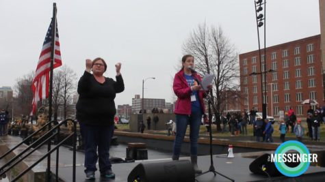 Alex Madaras speaks at the Students Demand Action rally
