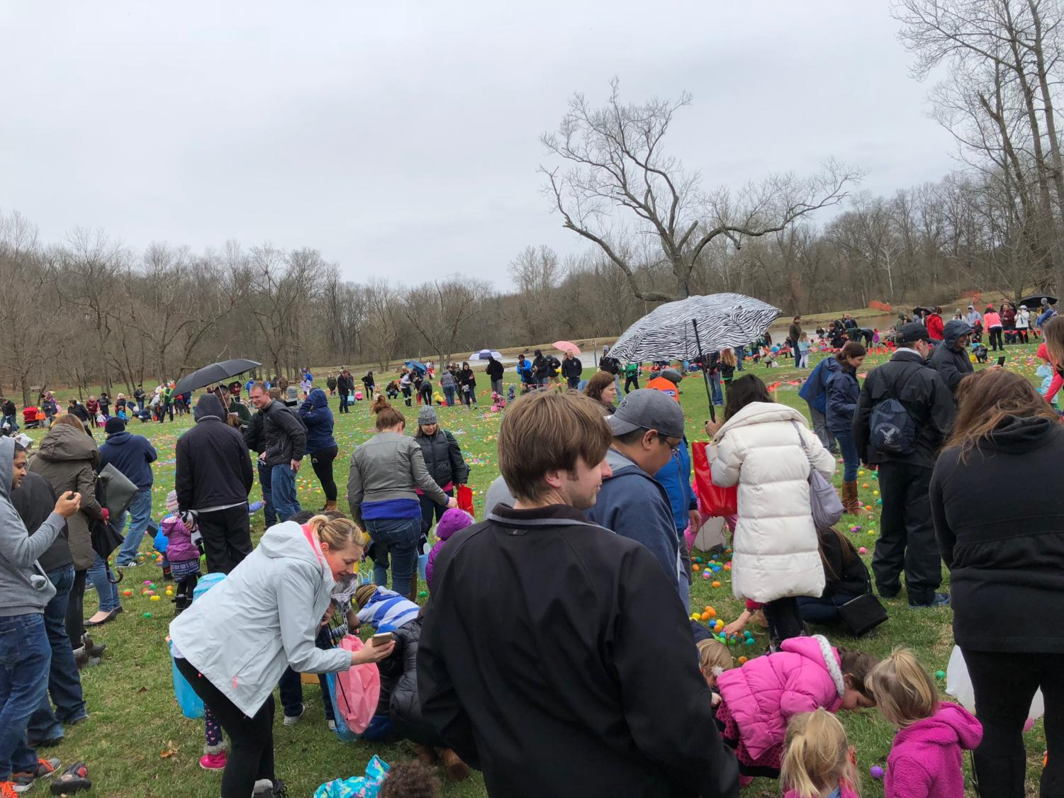 Participants hunt for Easter eggs at the annual