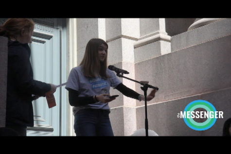 Tiffany Yoon speaks at the Students Demand Action rally