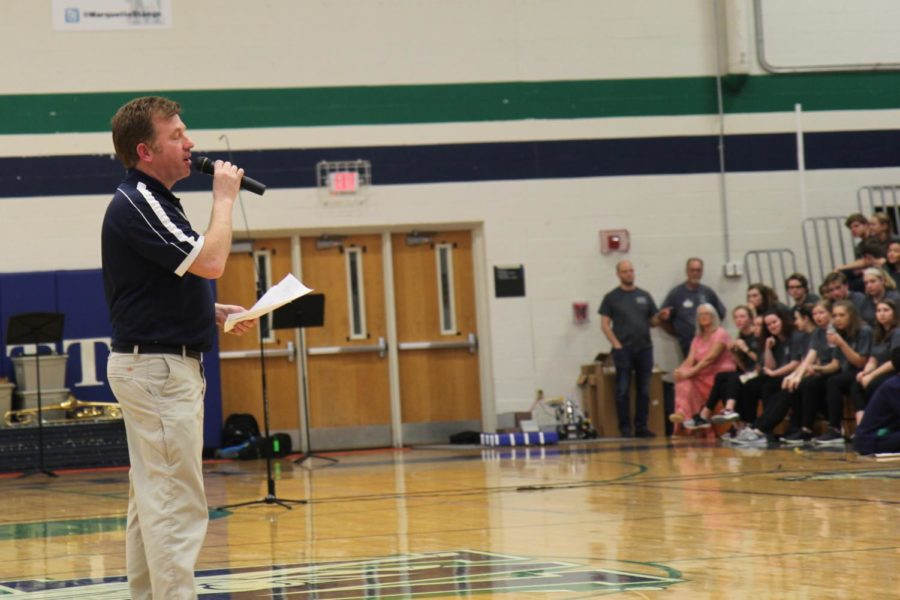Sophomore Principal, Rick Regina, opens the Assembly with a statement regarding the Successes of MHS this year.