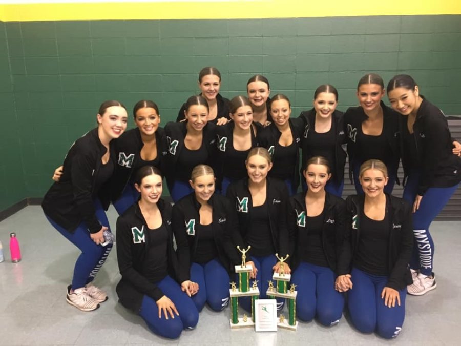 The+Mystique+team+won+first+at+their+poms+dance+and+second+in+their+jazz+routine+this+past+Saturday+at+Regionals.+Kenzie+Mckeon%2C+Mystique+coach%2C+said%2C+%E2%80%9CIt%E2%80%99s+just+really+icing+on+the+cake+to+get+first.%E2%80%9D++