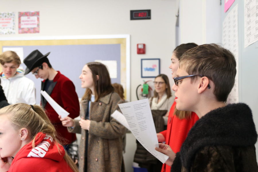 Acting 1 performs ¨Frosty the Snowman¨ in one of the FACS rooms during fifth hour on Tuesday.