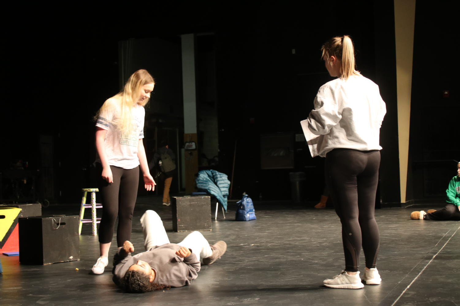 Directing fellow students, Willa Burns, senior, prepares for upcoming one acts in an after school rehearsal.