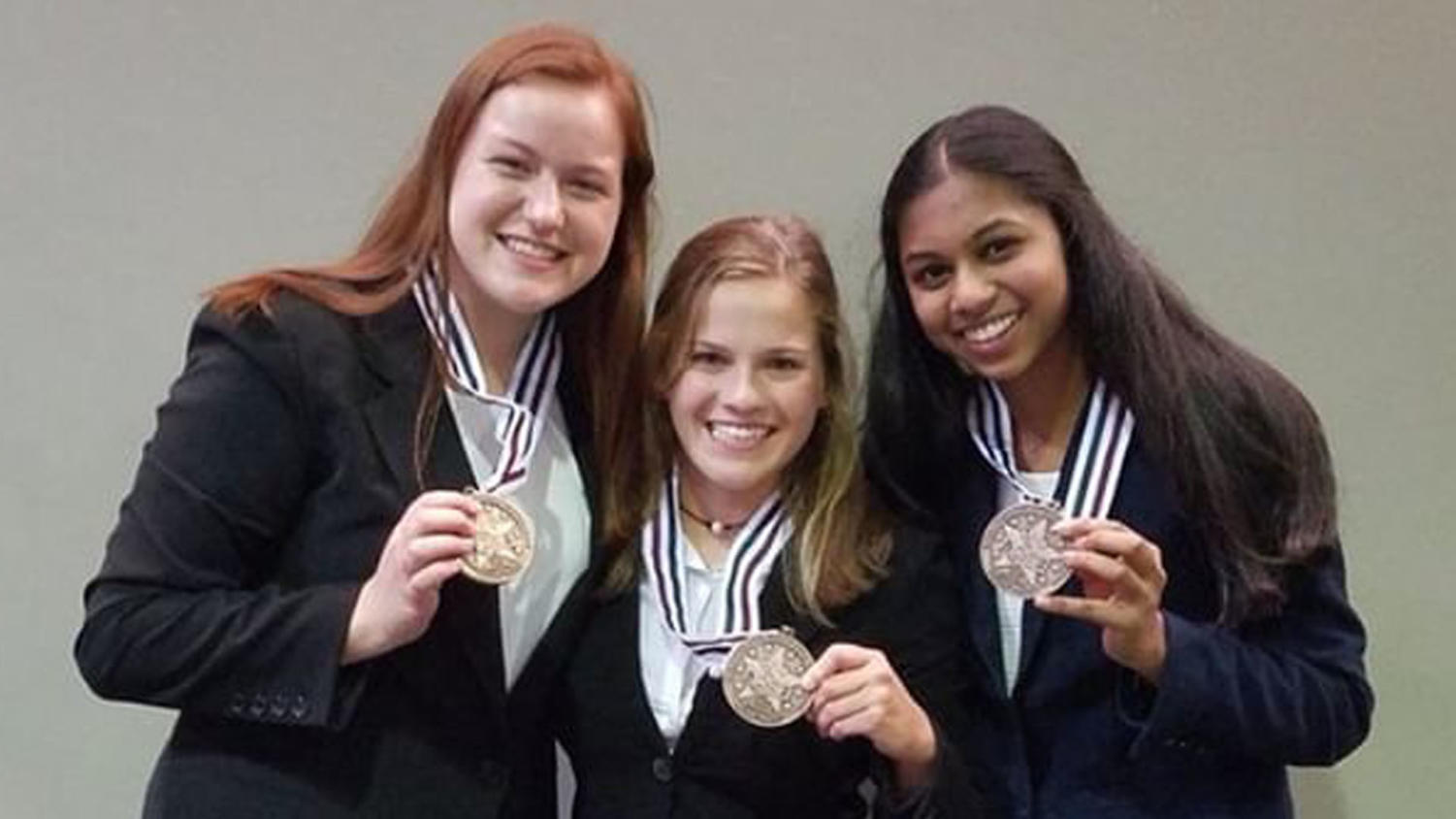 Kayla Berry, Kelley Sinning and Neha Bollam placed third at the HOSA National Leadership Conference last year. They are part of the group helping to reschedule and organize the HOSA Med Talks after cancellation on Jan. 12.