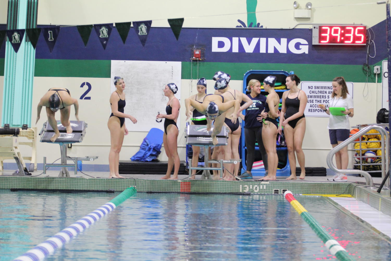 Diving+into+the+pool%2C+Amanda+Yu%2C+junior%2C+begins+her+100-meter+breast+event.+She+reflected+over+the+various+events+she+swam+this+meet.+%E2%80%9CI+am+happy+with+how+I+performed%2C+but+right+now+we+are+working+towards+State%2C+which+has+been+the+primary+focus+of+the+season%2C%E2%80%9D+Yu+said.+%0A%0A