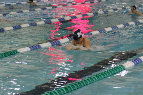 Abigail Nebot, senior, swims a 100-meter breast in her last swim meet of the year. Girls swim and dive will compete on Feb. 14 and Feb. 15 at the St. Peters Rec-Plex. MHS will battle for a championship title against about 40 other teams.