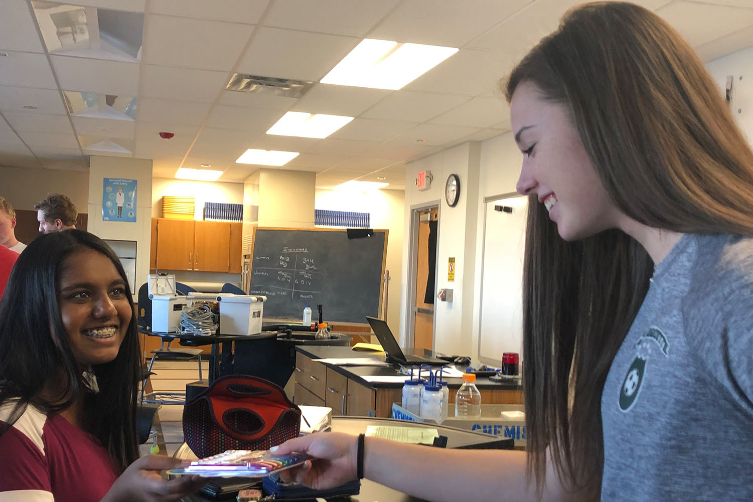 "Sarah Bergantz, sophomore, collects pens at school in preparation for her mission trip to Uganda. "" We are just going to improve people's lives and spread joy throughout the trip,"" Bergantz said."