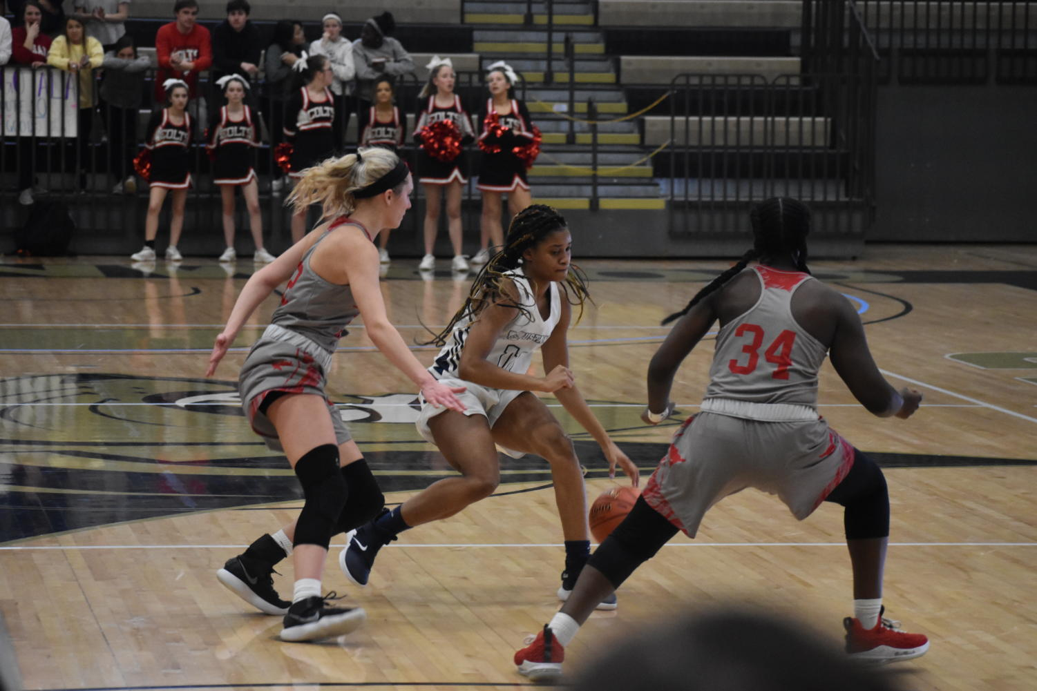 Autumn+Brown%2C+junior%2C+dribbles+down+the+court+as+she+is+guarded+by+two+Parkway+Central+players.+Despite+their+hustle%2C+MHS+lost+58-55+to+Parkway+Central.+%E2%80%9CWe+got+really+far+this+year+and+I+am+excited+to+see+what+we+do+next+year%2C%E2%80%9D+Brown+said.