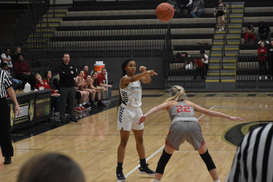 """After receiving the ball from Melissa Price, Autumn Brown, junior, passes the ball to Kennedi Watkins. They played Parkway Central on Wednesday after their District win, but unfortunately lost with a final score of 58-55. """"I am proud of how far we got this year,"""" Brown said. """"But I do wish we could have gone farther."""""""