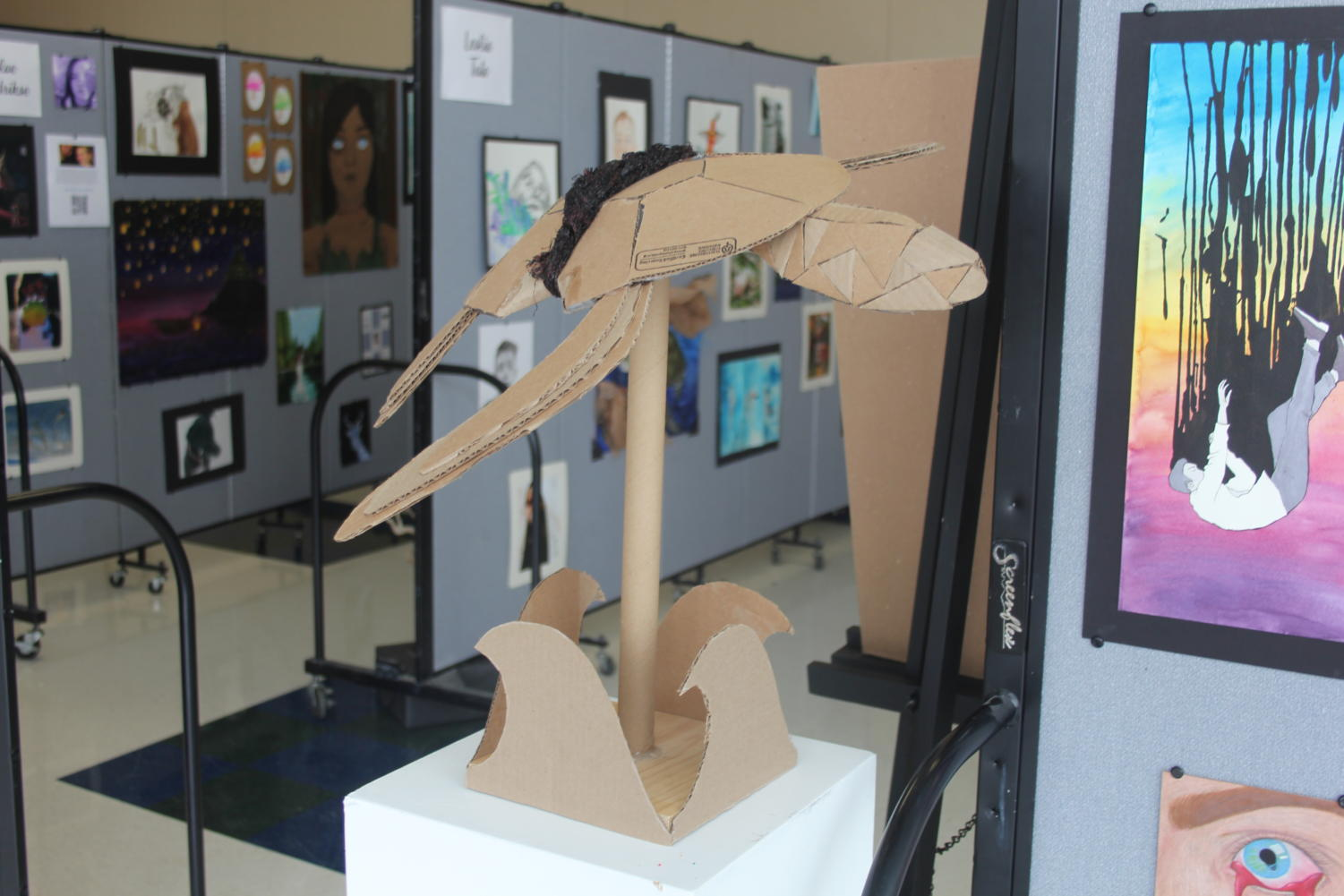 Part+of+Haenni%E2%80%99s+collection+includes+a+turtle+sculpture+made+out+of+cardboard.%0A