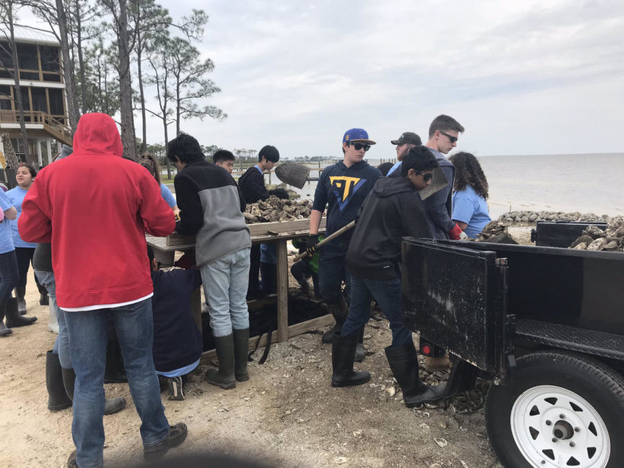 Students+work+towards+rebuilding+the+shoreline+during+the+annual+Spring+Break+Service+Trip.+MHS+students+traveled+to+help+communities+affected+by+hurricane+Michael+in+Mexico+City+and+Port+St.+Joe%2C+Fla.