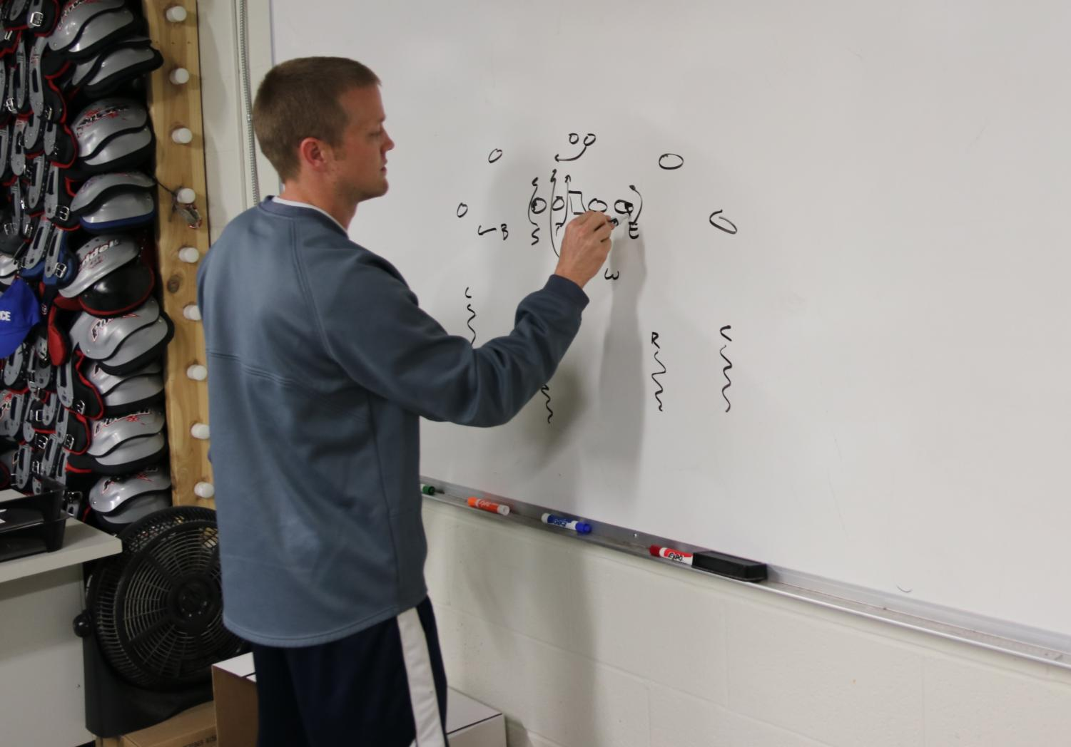 Coach Michael Stewart writing out a Blitz play for the defense. Stewart was recently named Head Coach of the MHS football program.