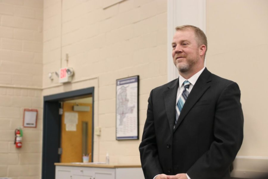 Associate+Principal+Dr.+Steve+Hankins+stands+as+Superintendent+Dr.+Knost+recognizes+him+as+the+new+MHS+head+principal+at+the+April+11+Board+of+Education+meeting.+Dr.+Hankins+will+assume+his+new+position+on+July+31.