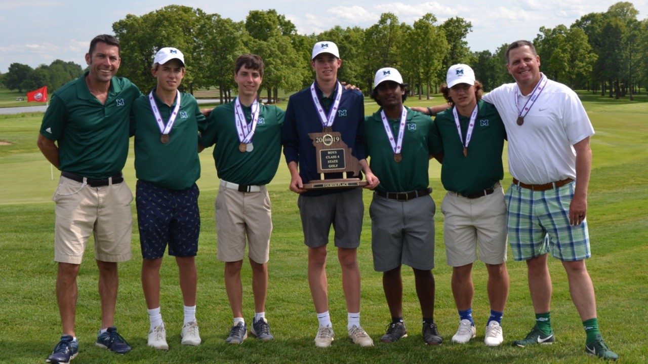 The boys golf team competed at the State tournament earlier this week. Overall, the team got fourth out of eight teams. There were, however, two All-State golfers on the team this year, which has never happened in MHS history. Jack Cronin, third from the left, tied for for second place and Tyler Linenbroker, center,  tied for 15th place.