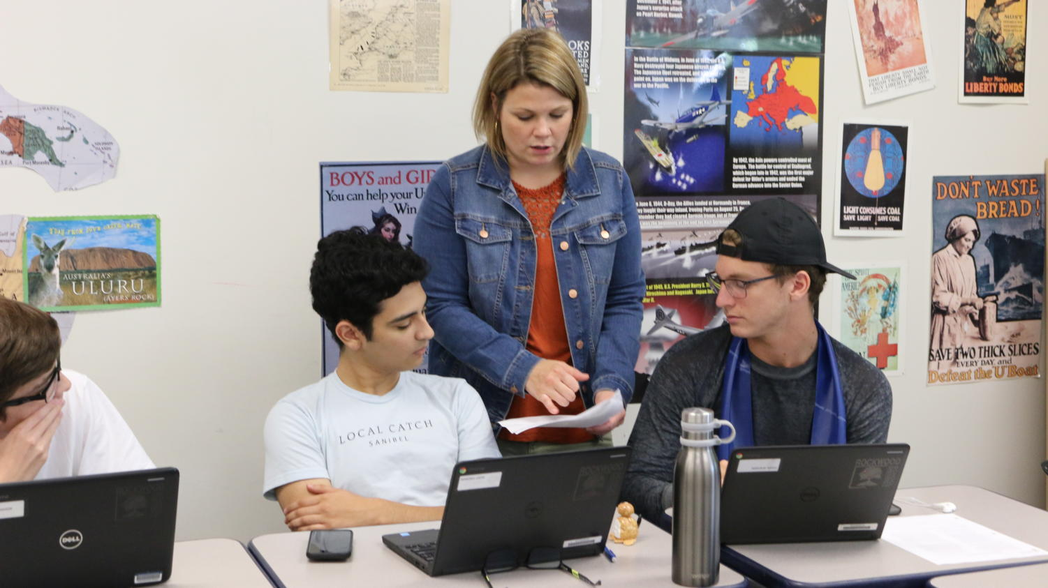 Katie Bauman, AP European History teacher, teaches her fourth hour class.