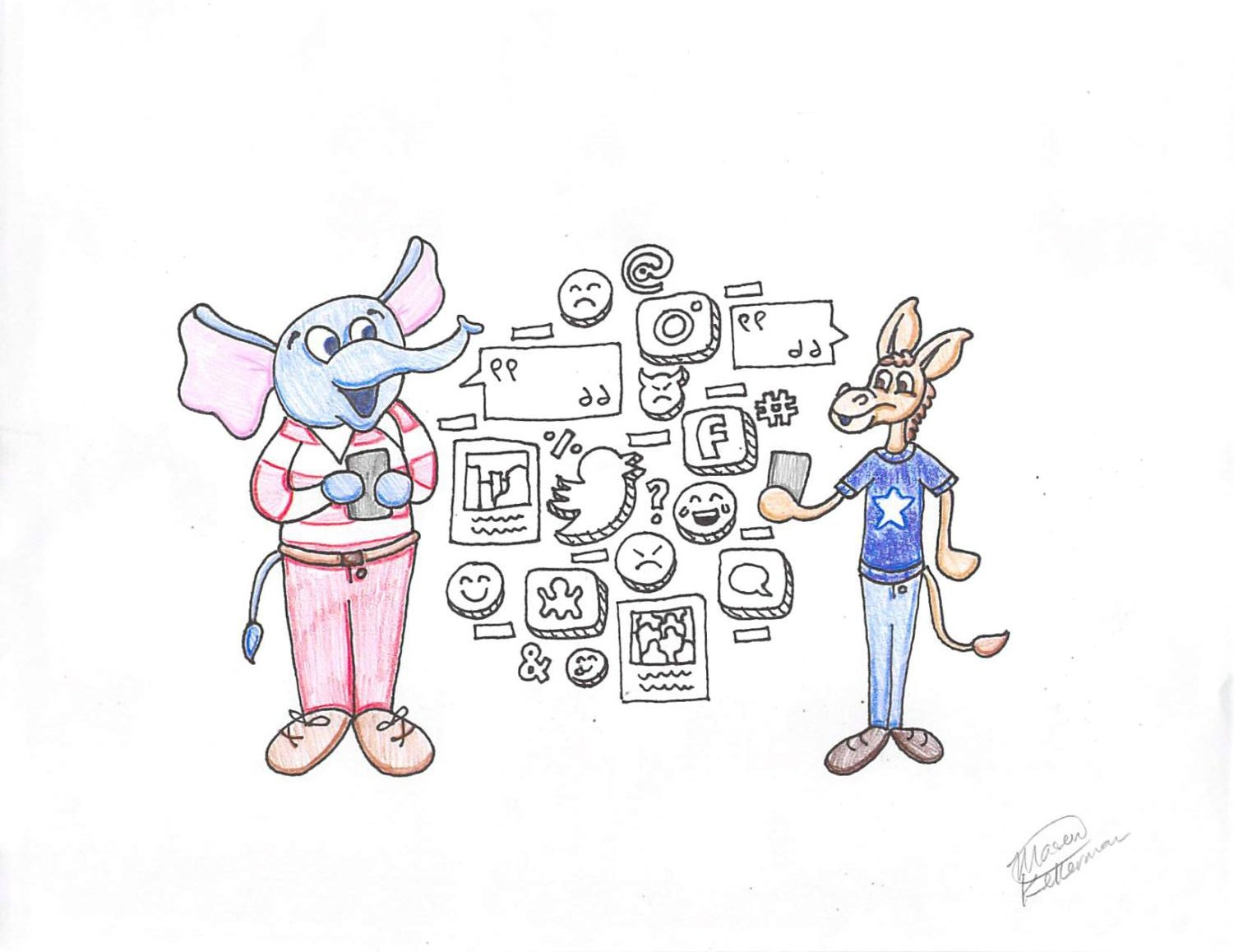 A republican elephant and a democratic donkey on smartphones.