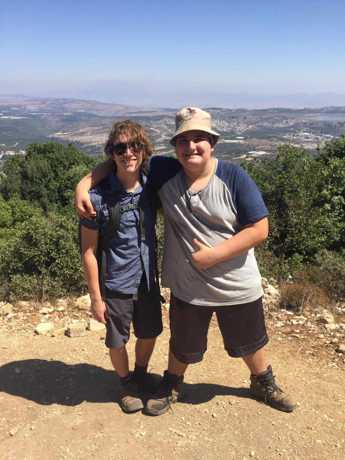 My friend and I standing on the summit of a hill, which overlooks the Lebanese border, during our Yam LeYam hike (a four day hike from the Mediterrean Sea to the Sea of Galilee).