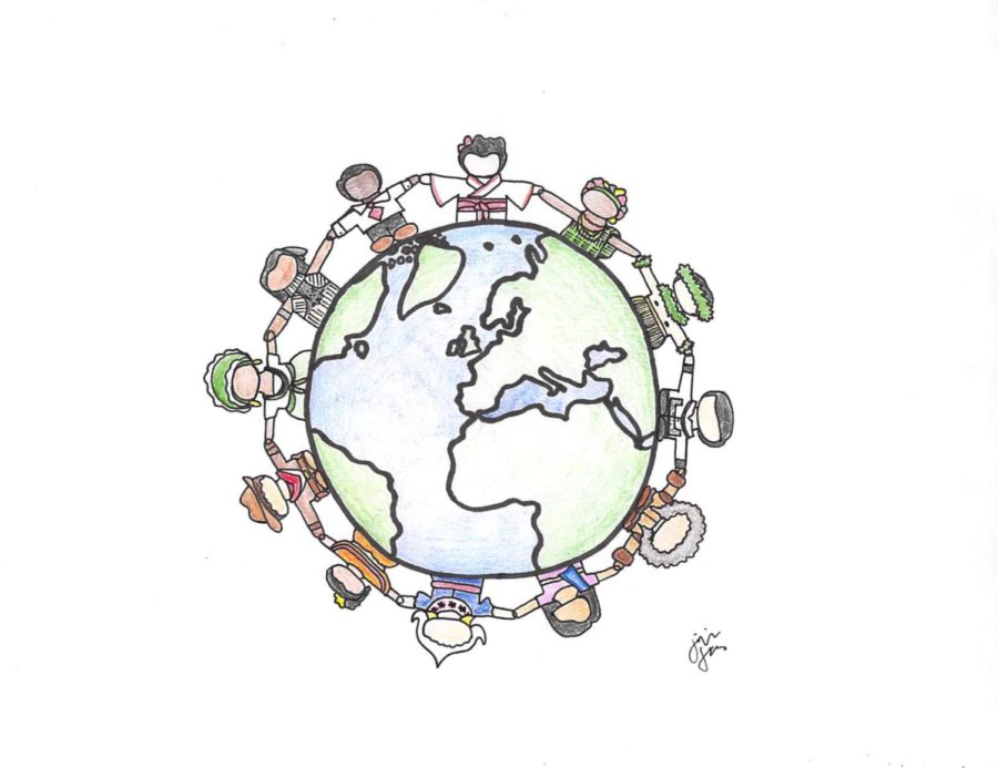Illustration+of+people+coming+together+to+make+a+difference+in+the+world.+