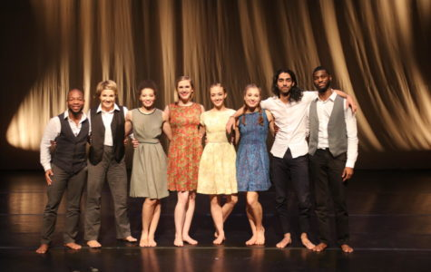 "Dancers from Modern American Dance Company (MADCO) pose on stage after performing their modern dance program, ""Wallstories,"" a commemoration to the fall of the Berlin Wall and the people affected by it."