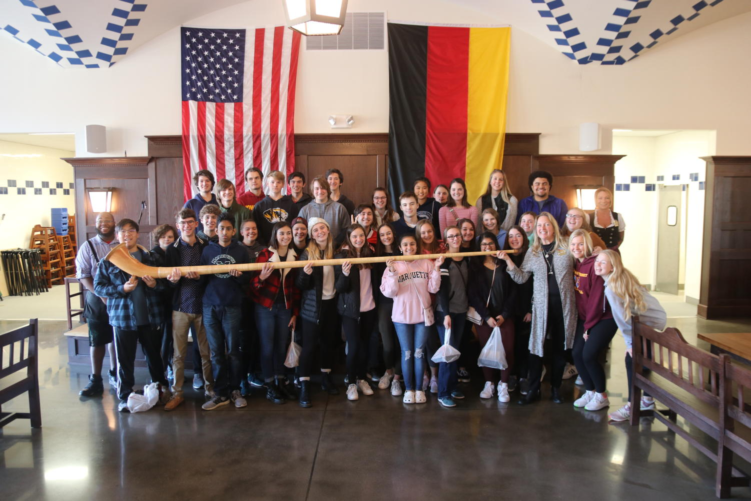 After+their+visit+to+the+Blanche+M+Touhill+Performing+Arts+Center%2C+German+III%2C+IV+and+V+students+pose+after+eating+lunch+at+the+Hofbrauhaus+in+Belleville%2C+Ill.%2C+a+German+brewery+and+restaurant.+