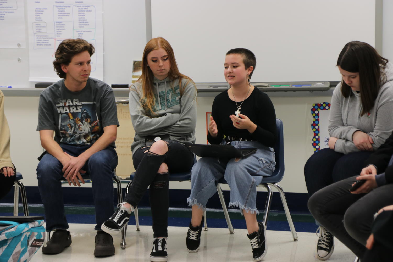 Izabel Cockrum, junior, leads a discussion with students on their experiences with sex education in the RSD. Laura Dorris, junior, sits left of Cockrum.