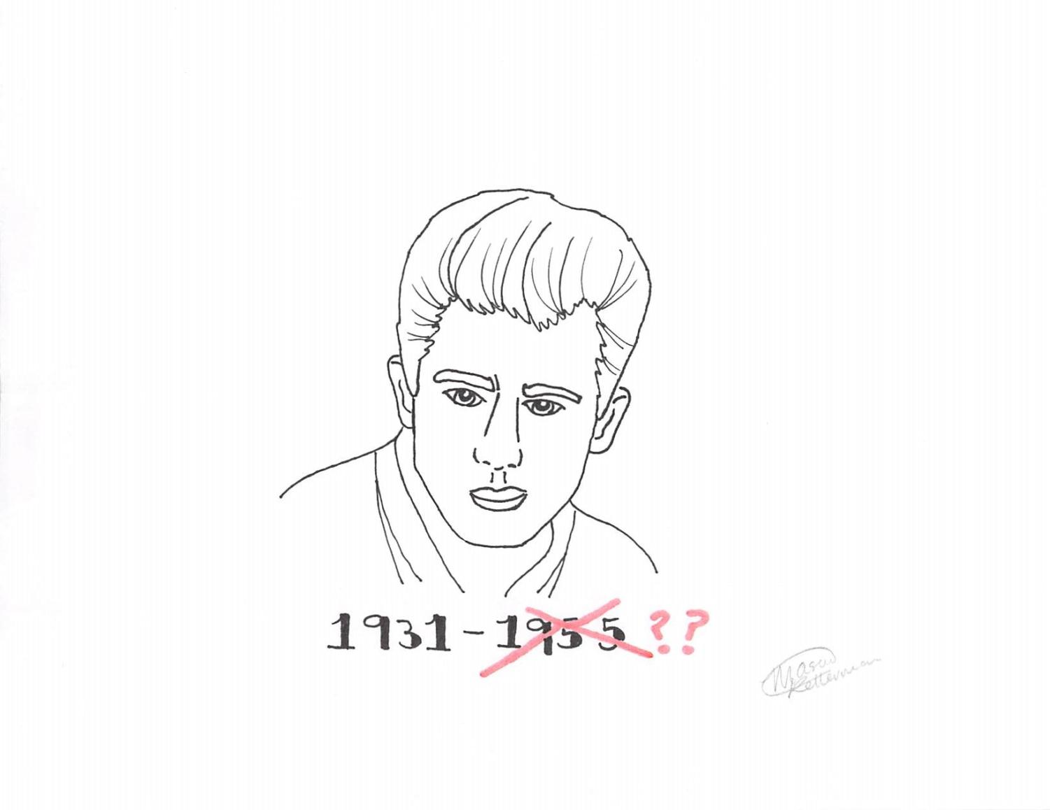 James Dean, actor, appears above the dates of his birth and death year. Dean will star in his fourth feature film 65 years after his death via cutting edge computer-generated imagery (CGI.)
