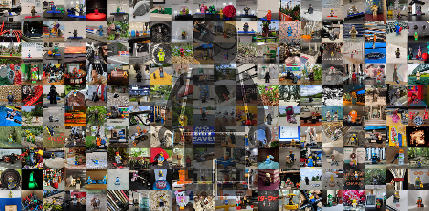 A collage of 200 photos of Lego minifigures that Ed Bolton, chemistry teacher, took and posted to Instagram. As of Nov. 5, 2019, Bolton has counted 248 unique Lego minifigures on his Instagram account.