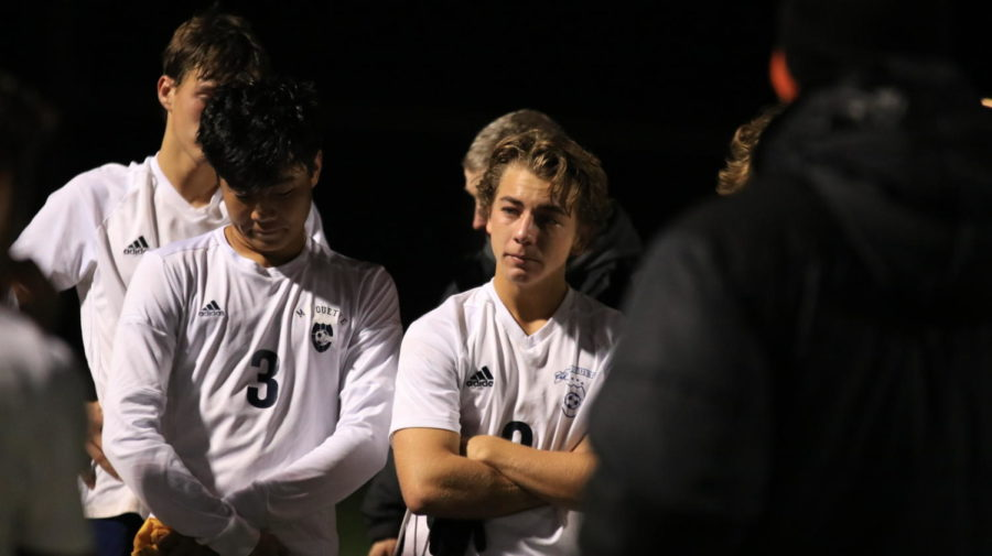 """Seniors Matt Pak, defender, and Sam Weis, defender, reflect on the game while their coaches shared closing thoughts. Weis is one of three team captains and has played for MHS since his freshman year. """"While it was a lot of fun leading the team this year with such great teammates, it came with a lot of responsibility to help set a good example to the teammates on what is expected of them while they are on varsity,"""" Weis said."""