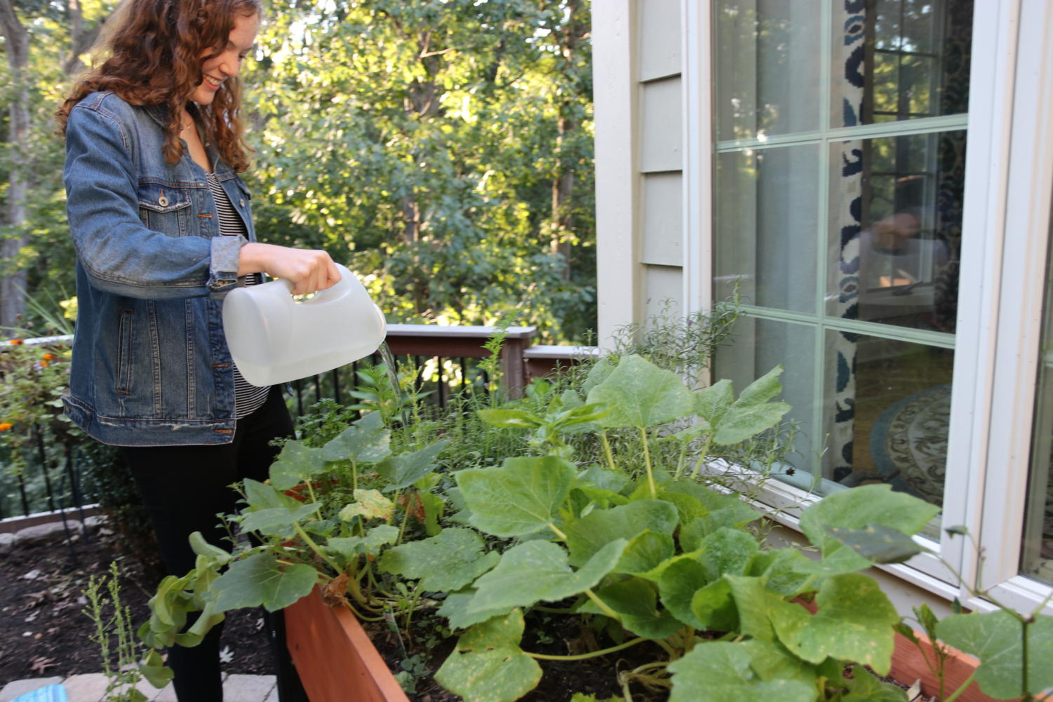 Abby Grace, senior, waters a variety of herbs and green on her deck. Grace's family started gardening last year and have since incorporated their harvest into their diet.