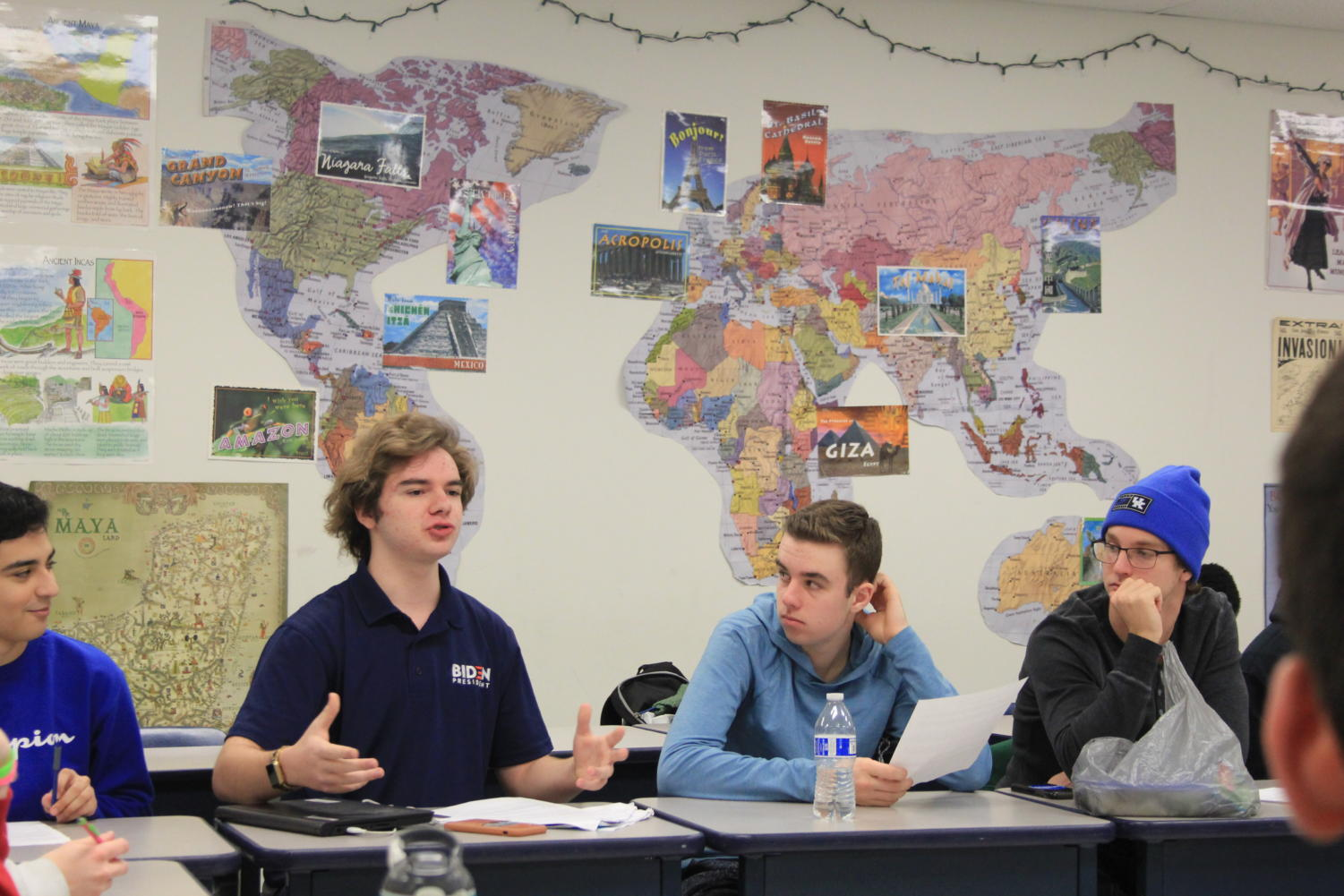 Students engage in discussion in Bauman's Politics and Conflict class.