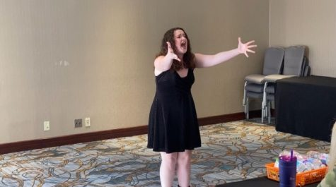 "Claire Schmitz, senior, earned a superior rating for her performance of ""Dead Mom"" from the musical ""Beetlejuice"" at the Missouri Thespian State Conference."