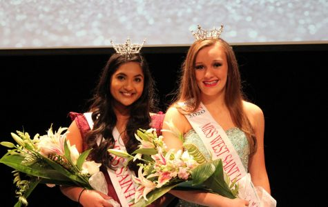 """Sarah George, junior, poses next to Kyleigh McCourt, student at Washington Middle School, at the 2020 Miss Gateway St. Louis Outstanding Teen Pageant held Dec. 21 after both received title positions. George was crowned Miss Gateway St. Louis Outstanding Teen. """"It definitely has changed my life,"""" George said."""