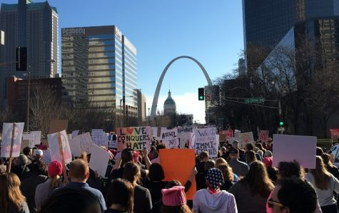 More than 10,000 people from Union Station on Market Street at the Women's March on St. Louis march displaying signs with a variety of women empowerment sayings Jan. 21, 2017. The movement has taken place every year since placing emphasis on voter registration.