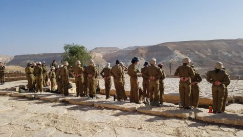 Standing at attention for our closing ceremony at the Sdeh Boker Gadna Base, overlooking the Negev Desert.