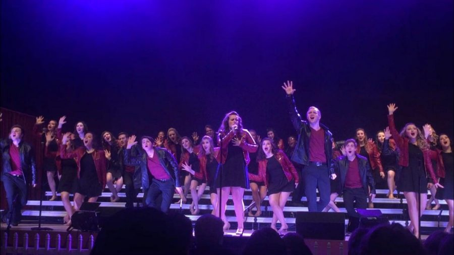 The group performs one of their sing and dance numbers at their competition at Danville High School. The group moved on into finals and ultimately earned second place with their routine.