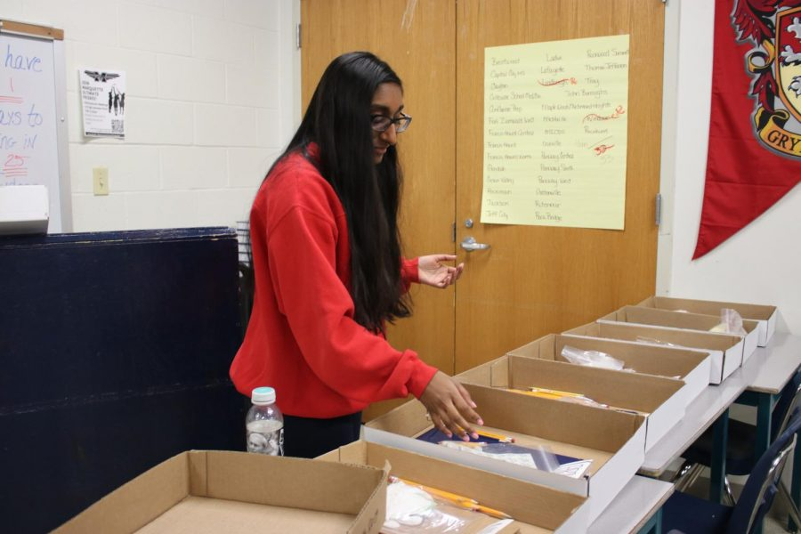 "Shruti Punnachalil, senior and Speech and Debate president, organizes ""first aid kits"". These include necessities that judges will need during the debates, such as pencils and clipboards. ""The MHS tournament is one of the biggest in the areas and a lot of students come because it is the last invitational before districts,"" Punnachalil said. National Speech and Debate Association (NSDA) will hold their districts on Feb. 22 and March 12 through 14. The Missouri State High School Activities Association (MSHSAA) will hold their districts on April 23 through 24."