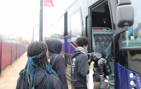 Boarding the bus, juniors Nykieta Alexander, Aliyah Edwards, Amber Smith and senior Kaliah Rodgers prepare to depart from a tour of Spelman University and Morehouse University. Members of the Marquette Academic Cultural Club (MACC), alongside students from Kirkwood and Webster Groves, attended a college trip in Atlanta to tour local universities, dine at local eateries and meet new people from February 13-18.