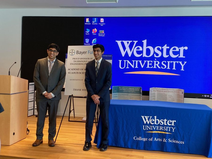 Juniors Prateek Gautam and Rincon Jagarlamudi won first and second place, respectively, at the Honors Division St. Louis Science Fair held at Webster University by the Academy of Science.
