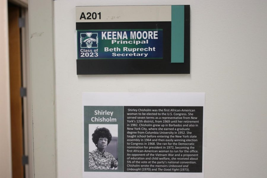 The+name+plate+of+Freshman+Principal+Keena+Moore+is+atop+a+paper+presenting+Shirley+Chisholm%2C+the+first+African+American+U.S.+Congresswoman.+Both+Moore+and+the+paper+demonstrate+a+lack+of+full+representation+in+MHS+as+Moore+is+one+of+two+African+American+faculty+members+in+a+high+school+of+2%2C250+students%2C+and+Chisholm%27s+paper+is+one+of+a+couple+scarce+posters+scattered+around+a+three-story+building.+This+is+how+MHS+carried+out+black+history+month.