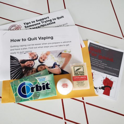 Quit Kits put together by Lili Schliesser contain information for someone who is quitting, information for anyone supporting them and some inconspicuous tools to deal with cravings including packs of mint gum, cinnamon toothpicks and chapstick.