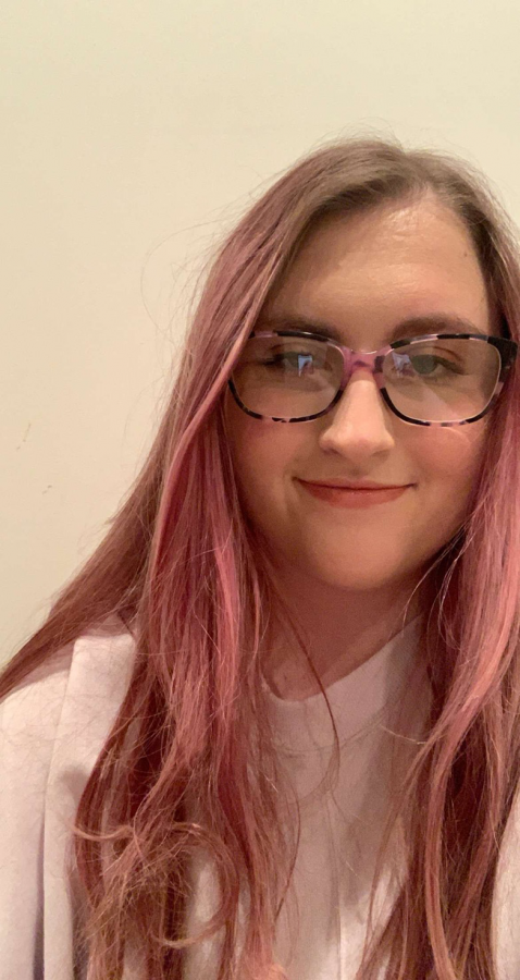 Rene Moore, senior, has dyed her hair red, blue and purple since quarantine began.