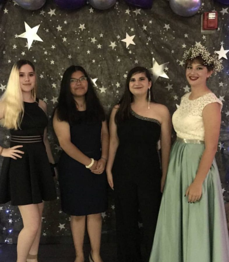 "(Pictured) Grace Watters and her friends attended the Homecoming dance last year. ""Homecoming for me was seeing my friends and being able to see everyone's smile,"" Watters said."