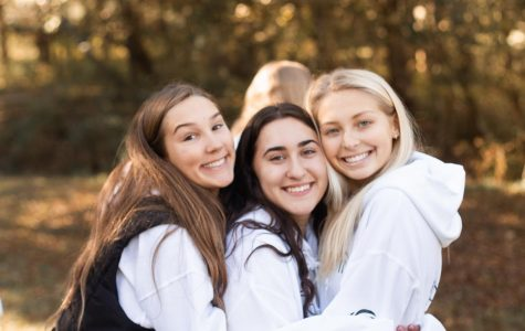 Sophia Marciano and her friends pose together at the 2019 Fall Retreat with Holy Infant Youth Ministry.