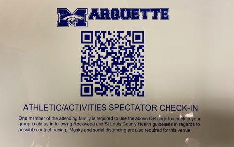 The QR code located at the entrance of an MHS venue is used by spectators to check in and fill out an entry form.